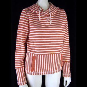 J. Crew Striped Soft Cotton Knit Hoodie Sweater  S